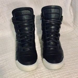Balmain High Top Leather Sneakers Size 45IT